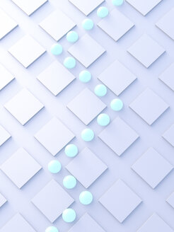 Balls rolling in a pattern, 3d rendering - AHUF00552