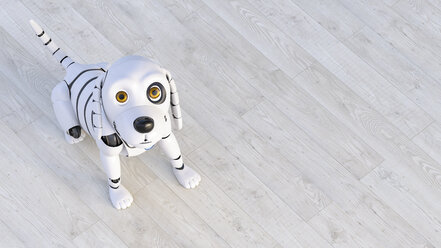 Portrait of robot dog sitting on wooden floor, 3d rendering - AHUF00558