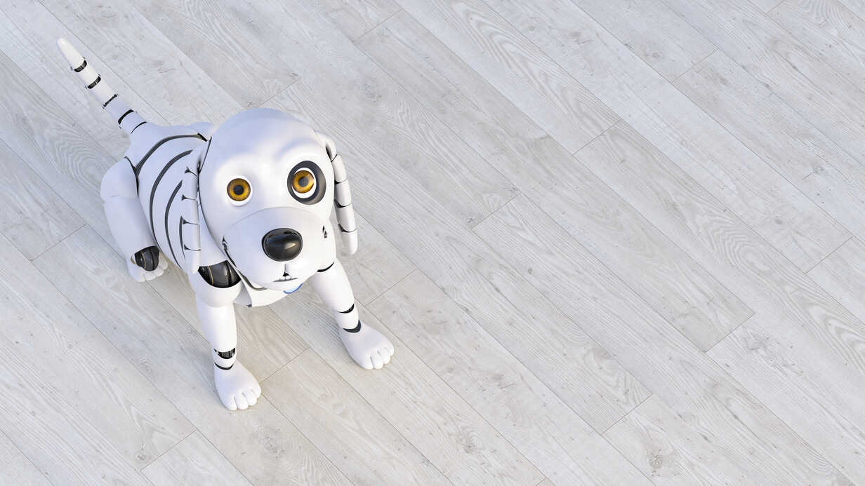 Portrait of robot dog sitting on wooden floor, 3d rendering - AHUF00558 - Anna Huber/Westend61