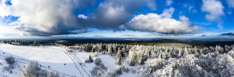 Germany, Hesse, Taunus, Aerial view of road through coniferous forest in winter - AMF06734