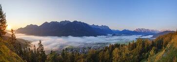 Germany, Upper Bavaria, Werdenfelser Land, Wallgau, Isar Valley at sunrise, view from Krepelschrofen - SIEF08392