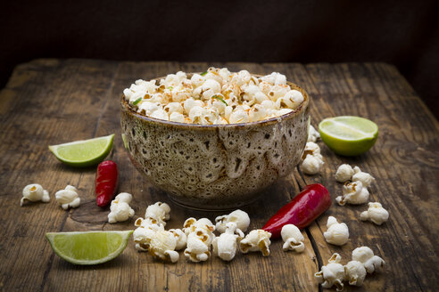 Bowl of popcorn flavoured with chili and lime - LVF07696