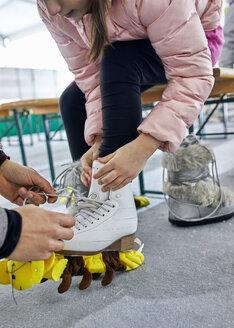 Serbia, Novi Sad, Ice skating, Preparing, Father and Daughter - ZEDF01826