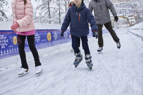 Serbia, Novi Sad, Ice skating, Family, Snow - ZEDF01838