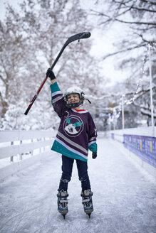 Serbia, Novi Sad, Ice skating, Boy, Hockey - ZEDF01865
