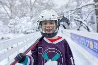 Portrait of a boy in ice hockey gear - ZEDF01868