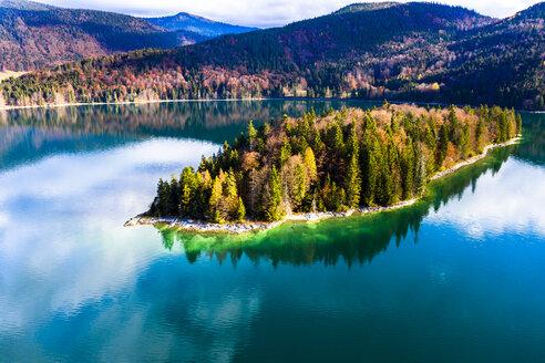 Germany, Upper Bavaria, Lake Walchen, Aerial view of Sassau Island - AMF06752