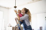 DIY mother and daughter changing light fixture - HEROF08418