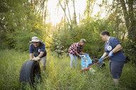 People volunteering, cleaning up garbage in woods - HEROF08790