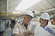 Workers reviewing blueprints in manufacturing plant - HEROF09047