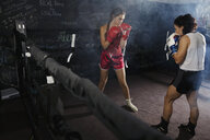 Tough female boxers training in boxing ring - HEROF09479