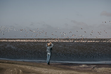 Namibia, Walvis Bay, Namib-Naukluft National Park, woman at the coast looking at colony of flamingos - LHPF00445