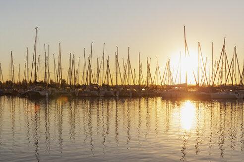 Germany, Saxony, Leipzig, Markkleeberg, Lake Cospuden, Marina, Pier 1 at sunset - GWF05836
