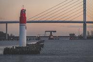 Germany, Mecklenburg-Western Pomerania, Stralsund, port entrance and Ruegen bridge - KEBF01069
