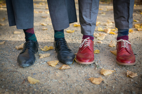 Shoes of two old-fashioned elegant men standing side by side - VWF00058