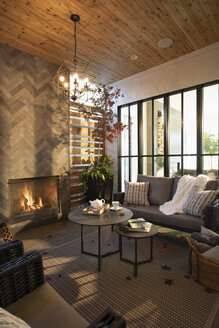 Home showcase interior living room with fireplace and wood ceiling - HEROF10164