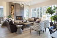 Home showcase interior living room with fireplace - HEROF10188