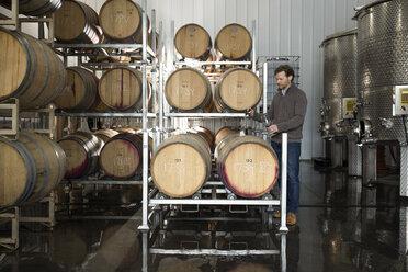 Winemaker checking wine in barrels at vineyard - HEROF11255