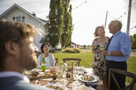 Couple celebrating anniversary, toasting friends at sunny rural garden party lunch - HEROF11342