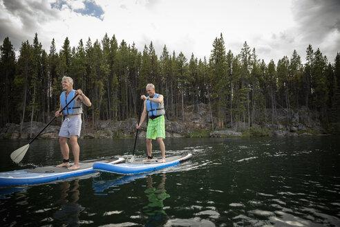 Mature men enjoying standing paddleboarding on lake, Alberta, Canada - HEROF11981