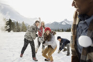Friends enjoying snowball fight in field below mountains - HEROF12146