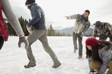 Friends enjoying snowball fight in field - HEROF12149