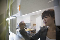 Businesswoman drawing on glass in office - HEROF13154