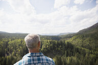 Mature man looking at rural remote treetop view - HEROF13535