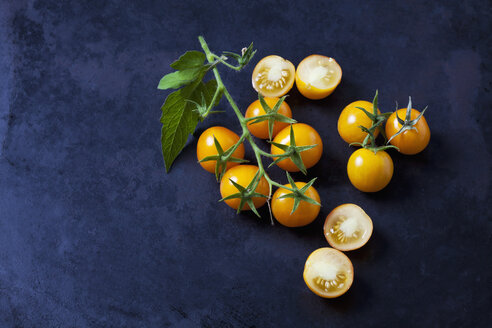 Whole and sliced cherry tomatoes 'Golden Nugget' on dark ground - CSF29228