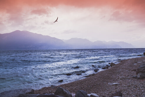 Italy, Veneto, Brenzone, the shore of the Garda Lake on a cold winter day, using gnd lens filter - FLMF00119