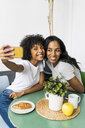 Two happy girlfriends sitting at table taking a selfie - GIOF05630