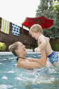Playful mother lifting son in swimming pool - HEROF13983