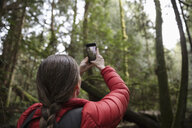 Female hiker with camera phone photographing trees in woods - HEROF14298
