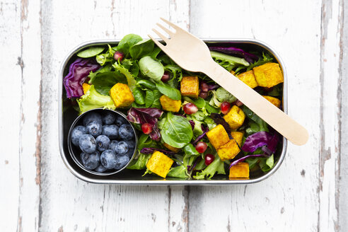Mixed salad with roasted tofu, red cabbage, pomegranate seeds, blueberries and curcuma in lunch box - LVF07740