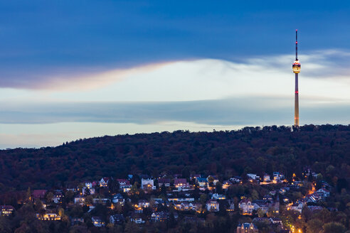 Germany, Stuttgart, cityscape with TV tower mansion district at twilight - WDF05067