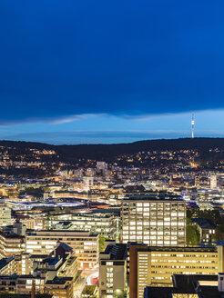Germany, Stuttgart, cityscape at twilight - WDF05070