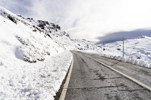 Spain, Andalusia, province of Granada, road in the ski resort of Sierra Nevada in winter - JSMF00799