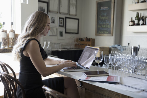 Businesswoman drinking wine and working at laptop in bar - HEROF15087