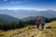 Germany, Bavaria, Hoernle near Bad Kohlgrub, young couple on a hiking trip in alpine landscape - LBF02346