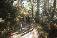 Boy and girl friends walking on footpath in sunny woods below trees - HEROF16158