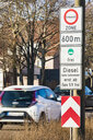 Germany, Fellbach, low-emission zone sign for Stuttgart, driving ban for diesel cars - WDF05073