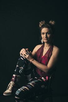 Renaissance portrait confident, stylish, cool female millennial - HEROF17309