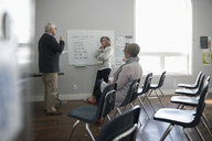 Woman at whiteboard leading grief counseling support group in community center - HEROF17678