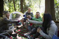 Friends toasting coffee mugs at campsite - HEROF18621