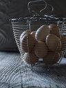Fresh organic chicken eggs in wire basket - HEROF18642