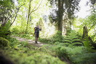 Man hiking using digital tablet camera on path in woods - HEROF18816