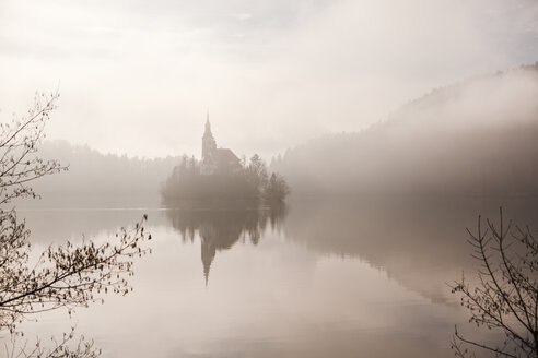 Slovenia, Gorenjska, Bled, Bled lake, Bled island with distinctive Church of Mary's Assumption - FLMF00129
