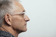 Profile thoughtful mature man in eyeglasses - HEROF19623