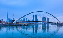 Pedestrian bridge across Dubai Creek, Water Canal Walk, UAE - CUF48613