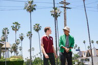 Two young men walking and talking in suburbs, Los Angeles, California, USA - CUF48694